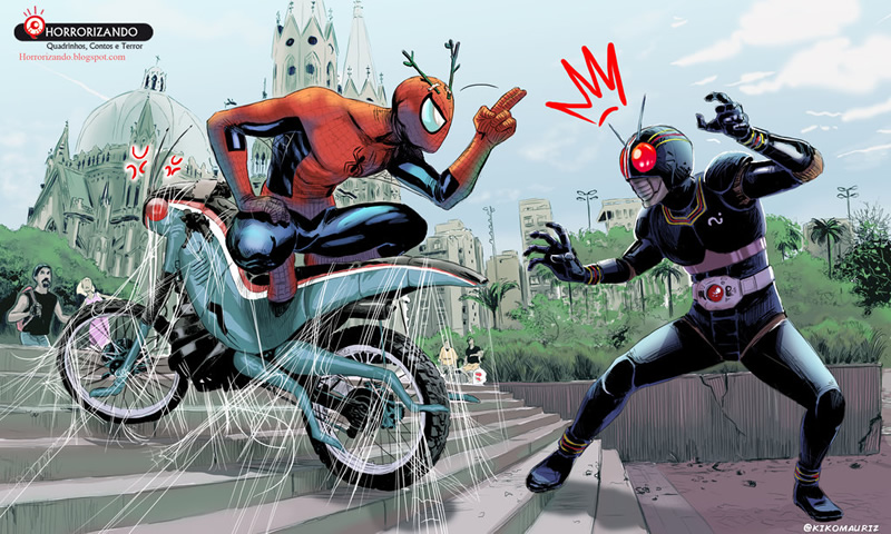 manchete vs marvel herois 02 spiderman kamen rider black