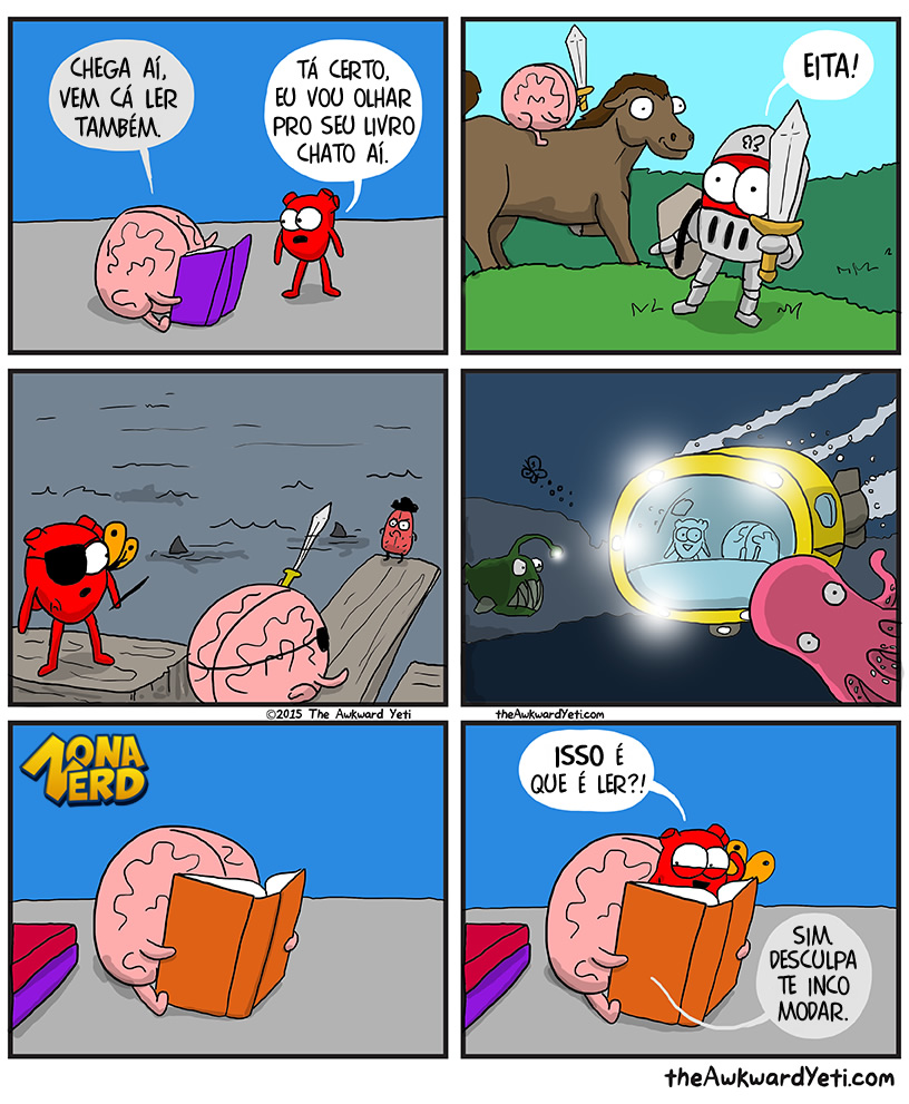 como e ler tirinha coracao cerebro