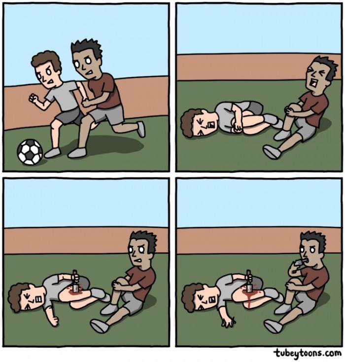 futebol fingir acidente dor
