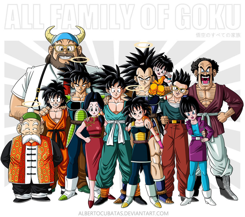 retrato familia dragon ball 1 goku