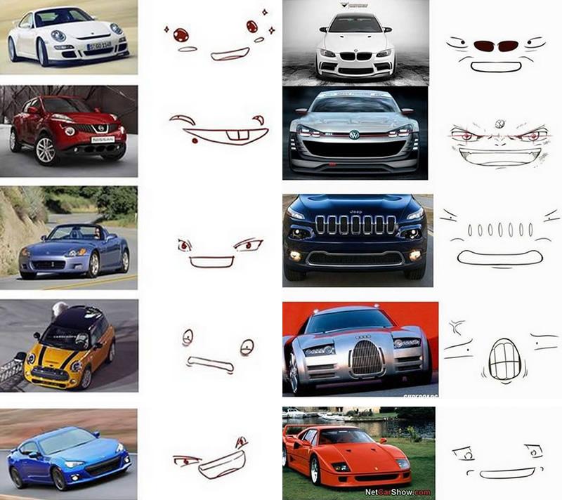 carros rostos desenho 1