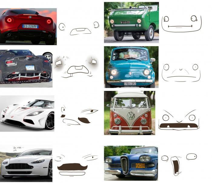 rostos em carros 1