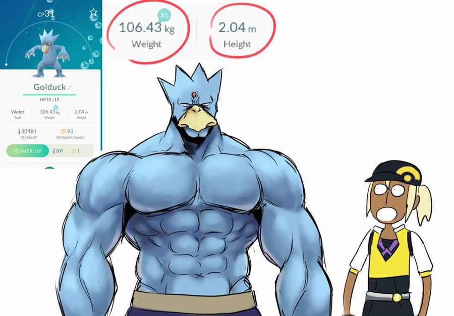 tamanho peso pokemon go 1